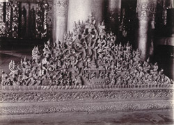 Carving on base moulding of Queen's Monastery, [Mandalay]